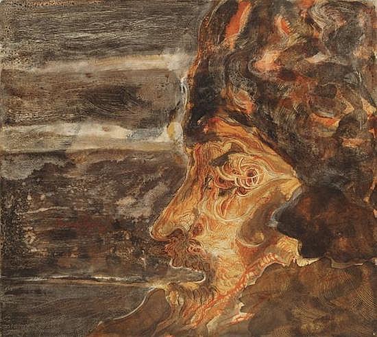 Francisco Corzas. Side face, Water coloured acrylic. 26.9 x 30 inches.