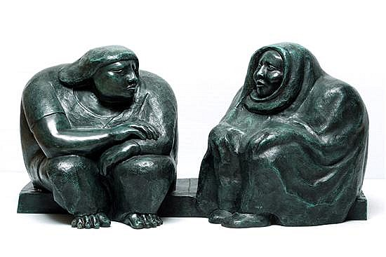 Jose Chavez Morado, The gossipers, Signed, Lost wax bronze, VI / IX, 17.13 x 32.68 x 14.96 inches.