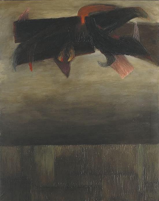Fernando de Szyszlo, waman was, signed, Oil on canvas.   59.06 x 47.24 inches.