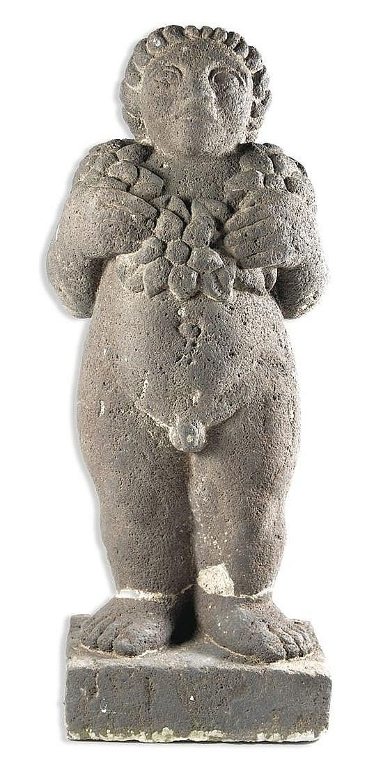 Juan Cruz Reyes, Boy, Signed, stone carving,  Height:   29.92 inches.
