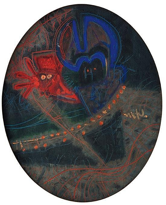 RODOLFO NIETO, Personajes en la Selva, 1966, Firmado, Óleo sobre tela, 73 x 60 cm