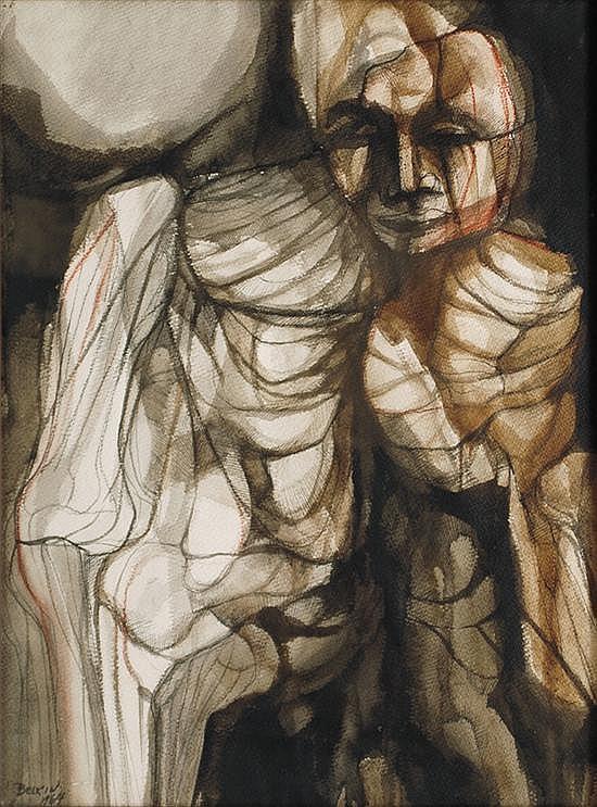 ARNOLD BELKIN, Personaje, Firmada y fechada 1964. Acuarela y tinta sobre papel, 67 x 51 cm