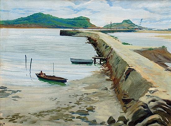 JOSÉ BARDASANO, Muelle, Firmado, Óleo sobre tela, 38.5 x 49.5 cm