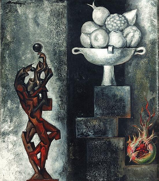 ROBERTO MONTENEGRO, Naturaleza muerta con granada, Firmado y fechado 65, Óleo sobre tela, 79 x 69 cm. Con etiqueta de Galerías Iturbide