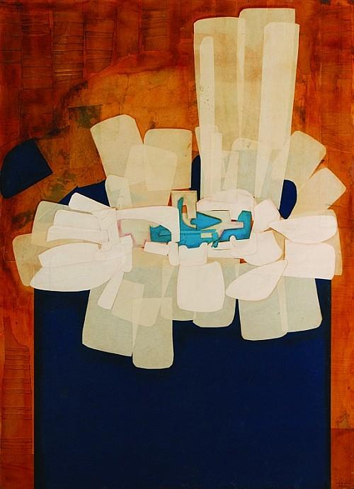 FITZIA, El tiempo se detiene, Firmado y fechado, 1994 (dos veces), Collage sobre madera, 110 x 80 cm.
