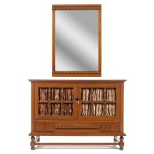 Lote de 2 muebles. Siglo XX. Elaborada en madera tallada. Consta de: Cómoda y espejo.