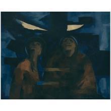 ENRIQUE ECHEVERRÍA, Eclipse, Signed, Oil on canvas, 80 x 100 cm / 31.4 x 39.3 inches.