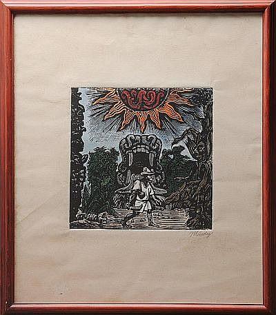 Leopoldo Méndez. (México 1902 - 1969). Indígena y Quetzalcoatl. Grabado. Firmado. Dimensiones: 25.4 x 25.4 cm.