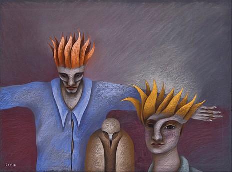 EMILIO ORTIZ, El tragafuegos, Firmado. Pastel sobre papel, 55.3 x 74.5 cm