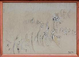CARLOS NAKATANI, Figurado, Firmado y fechado 1976. Polvo de mármol y óleo sobre tela, 50.5 x 70.5 cm