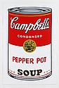 ANDY WARHOL, Campbell´s Pepper Pot Soup, Con sello en la parte posterior