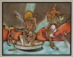 SAÚL KAMINER, La regadera, Firmado y fechado 88. Acrílico sobre papel con cortes, 50 x 65 cm