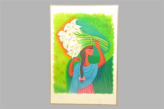 Trinidad Osorio. (México 1929-2002). Serigrafía, serie 34/300. Mujer con alcatraces. Sin enmarcar, firmado y fechado Paris 1993.