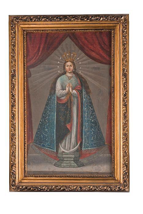Anónimo. Virgen de la Inmaculada Concepción. México, Principios del Siglo XIX. Óleo sobre tela. Enmarcada.