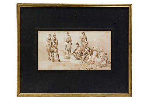 Firmado Fr. Castro. Sin título (Soldados). México, Siglo XIX. Sepia sobre papel. Enmarcado, firmado y fechado 1847.