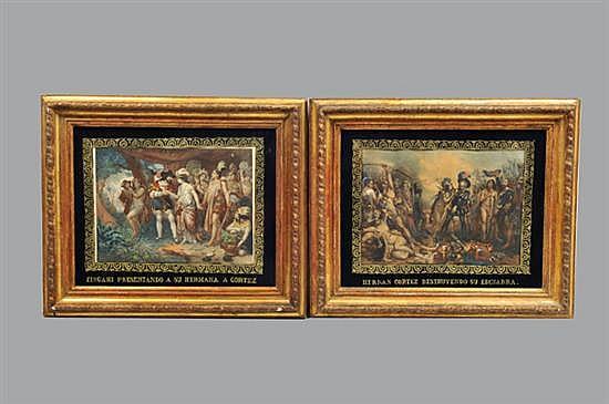 Nicolás Eustache Maurin. (Francia, 1799-1850). México, Principios del Siglo XIX. Lote de dos litografías coloreadas. Piezas. 2