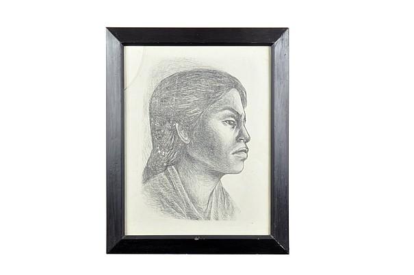 Adolfo Mexiac. Mujer de perfil. Litografía. Enmarcada. Firmada.