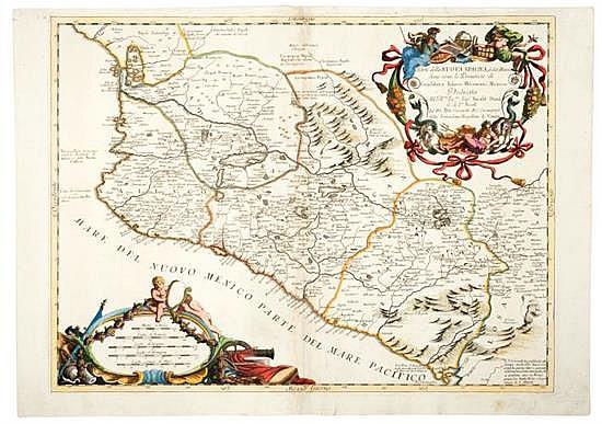 Coronelli, Vicenzo Maria. Parte della Nuova Spagna. Venecia, ca. 1690. Mapa coloreado, 45.5 x 61 cm.