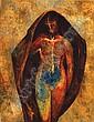 GUILLERMO MEZA, Mujer, Firmado y fechado 1961 Óleo sobre masonite con hoja de oro, 39.5 x 30 cm., Guillermo Meza, Click for value