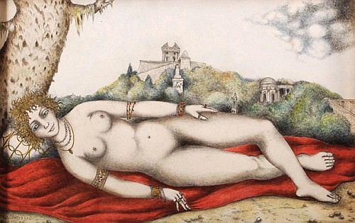 PAUL ANTRAGNE, Venus recostada, Firmada y fechada 5-9-70, Acuarela y lápiz sobre papel, 18 x 27 cm.