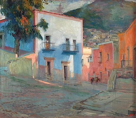 JOSÉ BARDASANO, Zacatecas al atardecer, Firmado, Óleo sobre tela, 66 x 76 cm. Dusk in Zacatecas, Signed, Oil on Canvas