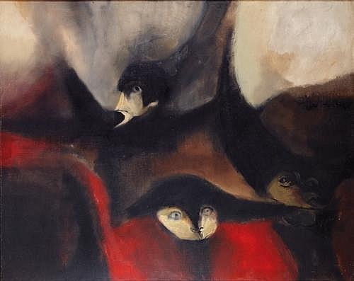 FRANCISCO CORZAS, Los seudos, Firmado y fechado, 1962, Óleo sobre tela, 135 x 170 cm. Signed and dated 1962, Oil on Canvas