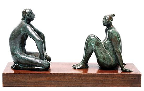Armando Amaya, Couple, signed and dated 1977, Bronze sculpture   with serial number II / VII