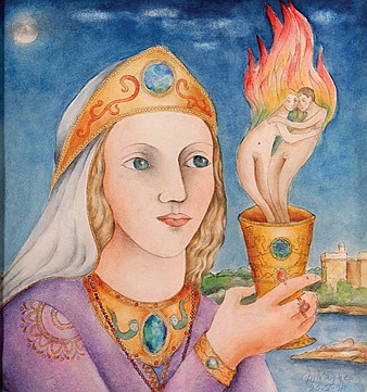 Paul Antragne, Woman with flamboyant cup, signed and dated 91, watercolour on paper.