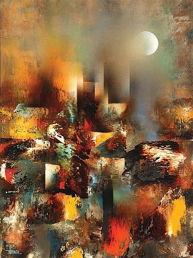 Leonardo Nierman, Ruins, Signed, Acrylic on masonite.
