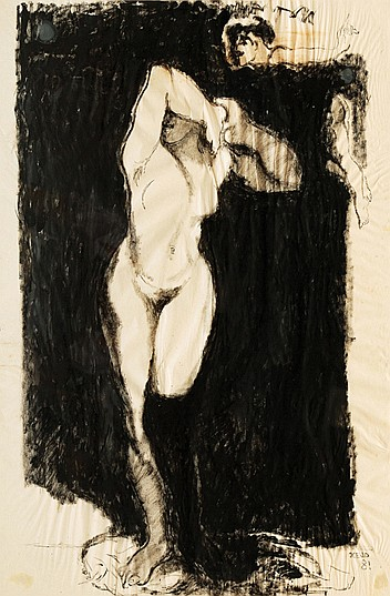 Jose Garcia Ocejo, Nude, signed and dated 81, ink on paper.