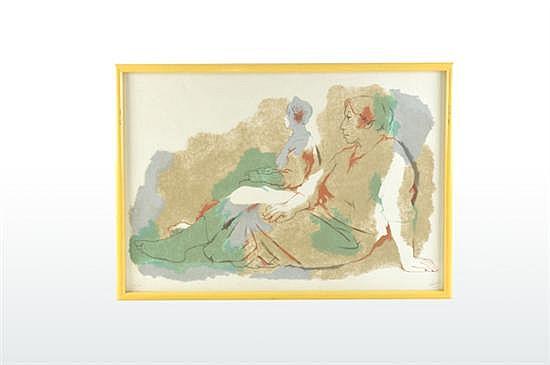 Fernando Castro Pacheco (Mérida, Yucatán, 1918) Sin título (dos mujeres). Serigrafía 93/100. Firmada. Fechada 1985. Dimensiones: 46 x 7