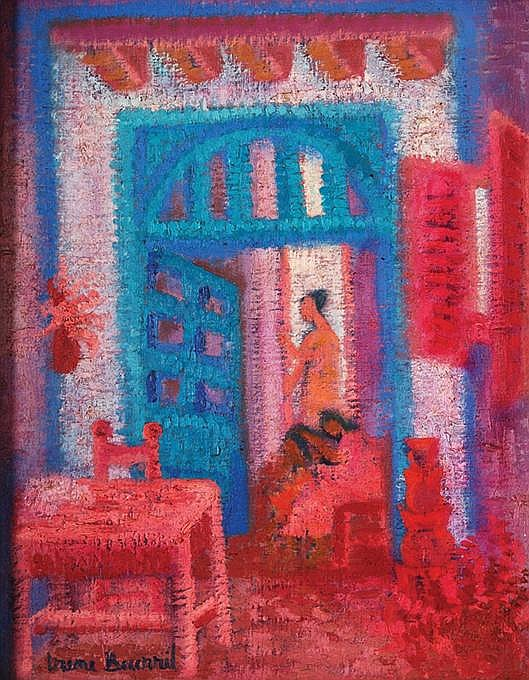 IRENE BECERRIL, Interior no. 1, signed, oil on line sobre fibracel, 44.7 x 34.9 cm.