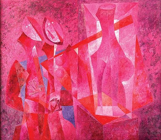 BYRON GÁLVEZ, Festividad, Firmado y fechado 97, Óleo sobre tela, 100 x 115 cm.  Portada del Catálogo.