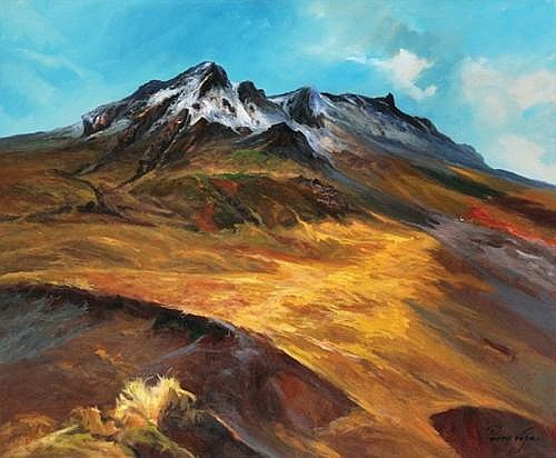 PRIMO VEGA, Snow Mountain in Mexico, Signed and dated 2007, Oil on Canvas, 100 x 120 cm.