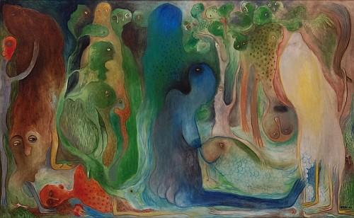 MANUEL MENDIVE, Sin titulo, Firmado y fechado 1989, Óleo sobre tela, 116 x 190 cm.