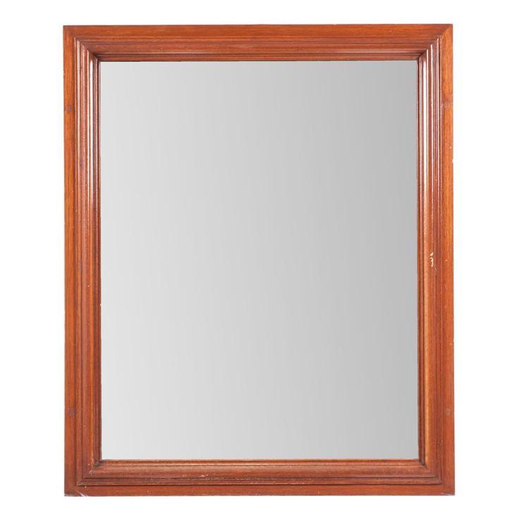 Espejo siglo xx marco de madera tallada con luna rectangu for Espejo rectangular con marco de madera
