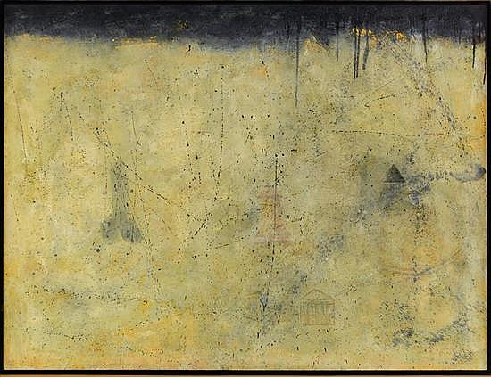 MARCO BETETA, Enigma, Firmado y fechado 02. Encausto sobre madera, 121.5 x 160 cm
