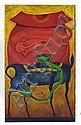 ROLANDO ROJAS, Sin título (2 animales), Firmada, Mixta con arenas sobre tela, 60 x 100 cm, Con certificado de autenticidad del artista., Rolando Rojas, Click for value