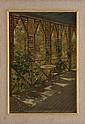 ALEXANDER VINCENT (SIGLO XIX-XX) VISTA DE TERRAZA.  Óleo sobre cartón adherido a tabla. Firmado. 35.5 x 24.5 cm.
