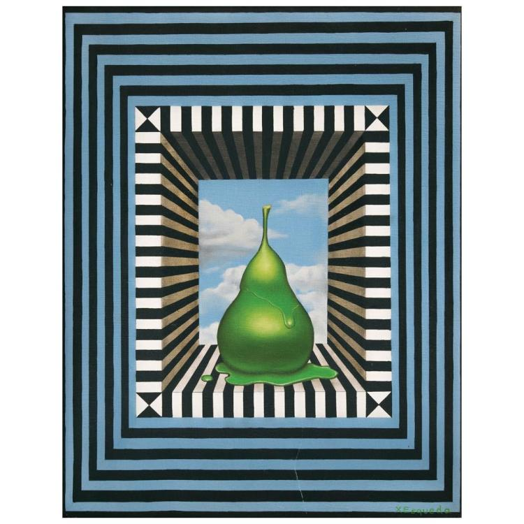 xavier esqueda el pintor y su modelo 1971 signed oil on. Black Bedroom Furniture Sets. Home Design Ideas