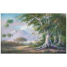 CARLOS ESCOBAR LEÓN, Nogueras, Colima, Signed, Oil on canvas on masonite, 48 x 78 cm / 18.8 x 30.7 inches
