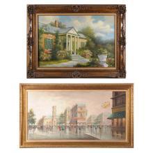 Obras pictóricas. S. XX. Consta de: a) Firmado Mary Amadio. Fachada de residencia. Óleo sobre tela. b) Vista de ciudad. Piezas: 2
