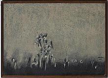 CARLOS NAKATANI, Vuelta, Firmado y fechado 1976. Óleo y arenas sobre tela, 50 x 70 cm