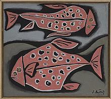 IGNACIO ORTIZ, Peces en rosa, Firmado. Óleo sobre tela, 80 x 90 cm, Con certificado del artista.