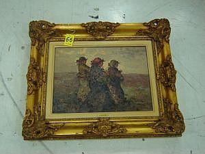 Antonio Pecoraro. Sin título. Óleo sobre tela. Con marco de madera dorada. Dimensiones: 30 x 40 cm.