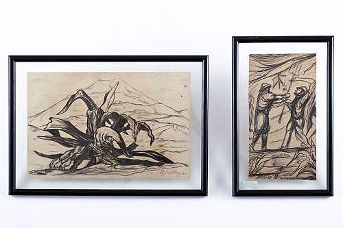 O´Higgins , Pablo. El Maguey de Topilejo / Campesinos Luchando.  Dibujos, 21.5 x 32 y 25.5 x 13 cm.  Firmados. Enmarcados. Piezas: 2.
