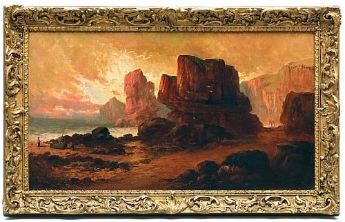Sidney Yates Johnson (act. 1901 – 1910). Paisaje rocoso de playa con pescadores. Esc. inglesa. Fechado 1901 Ó/lienzo. 44 x 80 cm.