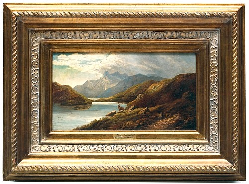 Arthur Gilbert (1819-1895). Loch Scavaig. Escuela inglesa.  Óleo sobre lienzo. 24 x 44 cm.