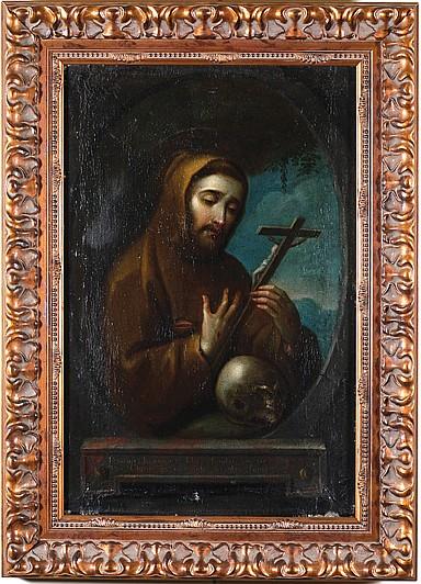 José de Paez ( 1720 - 1790 ) Origen mexicano. San Francisco de Asís. Óleo sobre lienzo. Firmado y fechado 1756. 45 x 29.5 cm.