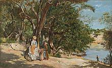 LUCIEN ALPHONSE GROS (FRANCIA, 1845 - 1913). PASEANTE Y VENDEDORAS JUNTO AL LAGO. Ó/madera. Firmado y fechado. 22 x 36 cm.